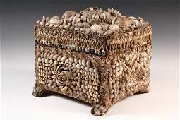 FOLK ART SHELL BOX  Victorian Seashell Encrusted Box