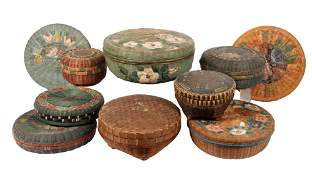 10 PCS ORIENTAL BASKETRY  Circa 1920s30s Chinese
