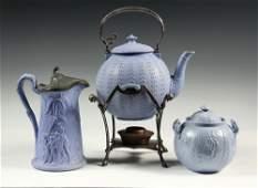 (3 PCS) PALE BLUE IRONSTONE - 19th c. American Faux
