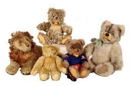 5 STEIFF ANIMALS  Early Large Reclining Lion Medium