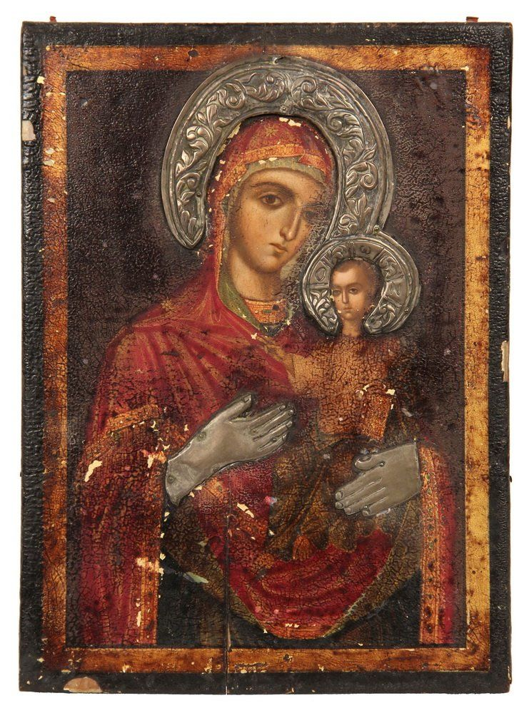RUSSIAN ICON - 19th c. Madonna and Child, oil on panel