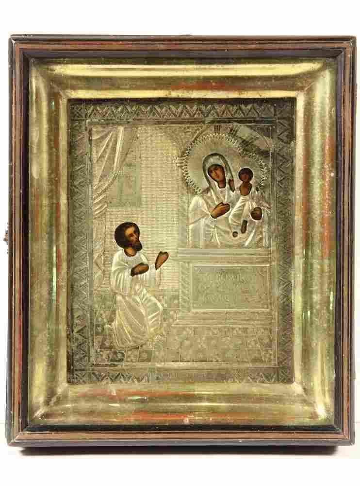 CASED RUSSIAN ICON - 19th c. Representation of Joseph