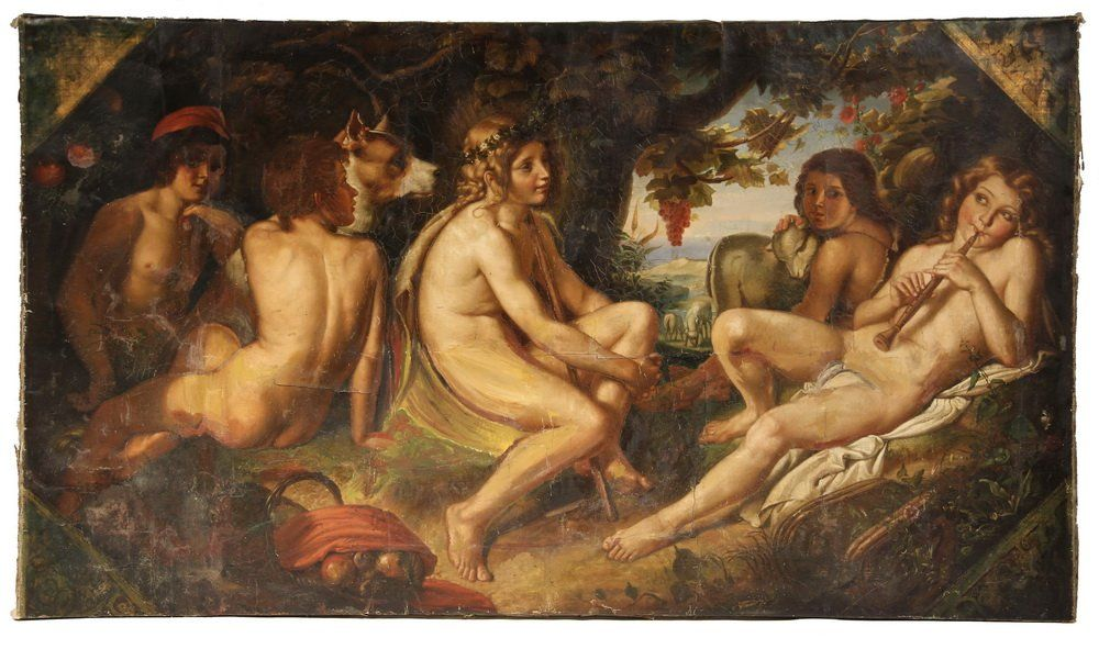 FRENCH BEAUX-ARTS MONUMENTAL CANVAS - Five Shepherds