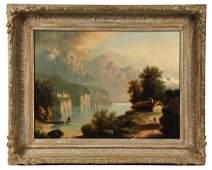 AUGUST KUNZ; (Swiss, 1861-1915), Alpine Lake Scene, oil