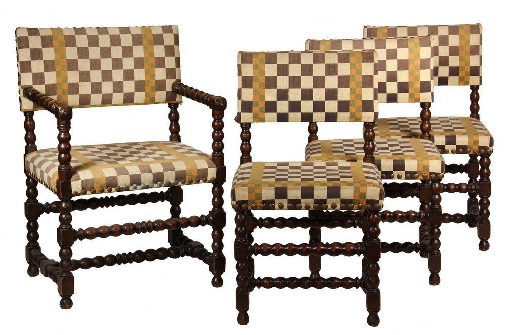 SET OF (8) ENGLISH DINING CHAIRS - Tudor Style Turned