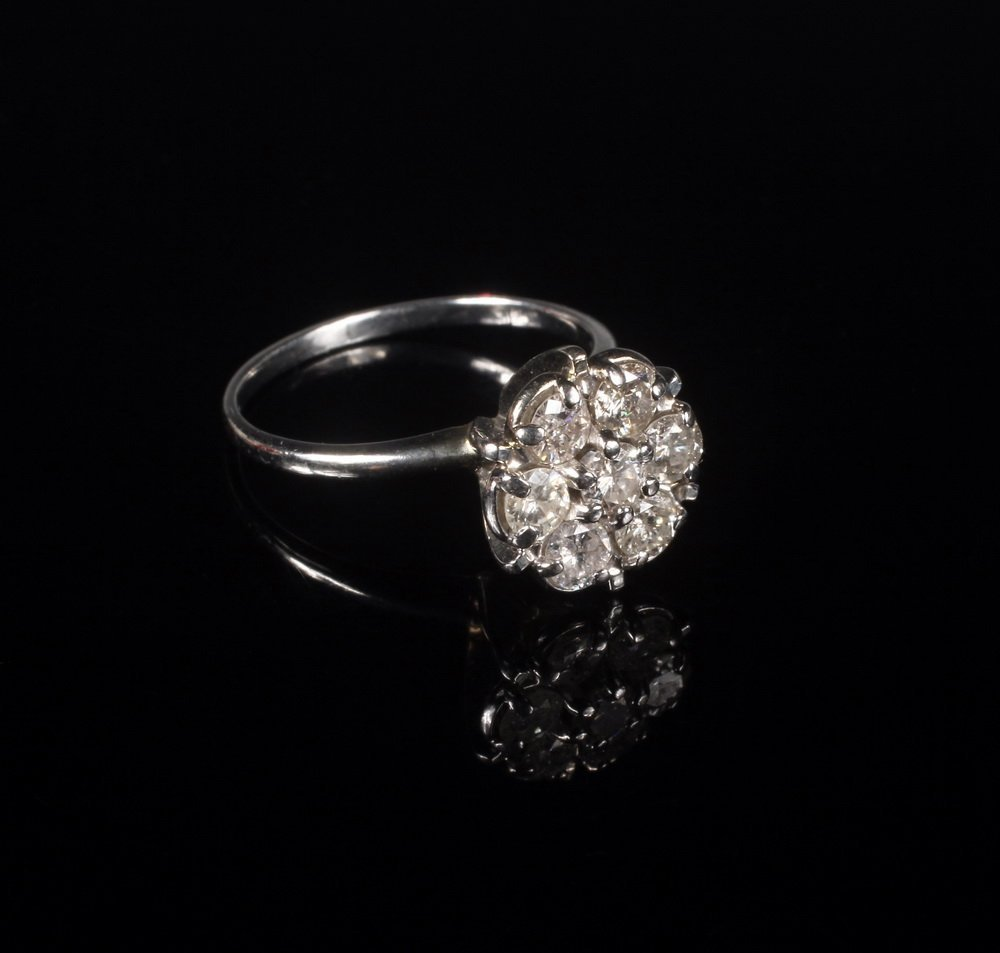 LADY'S RING - 14K White Gold and Diamond Cluster Ring,