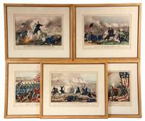 (5) CURRIER & IVES CIVIL WAR LITHOS - Inc: Battles of