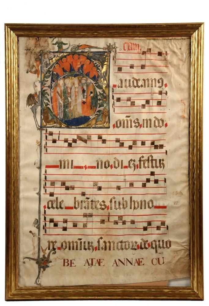 LARGE ILLUMINATED PARCHMENT - Medieval Antiphonal Leaf,