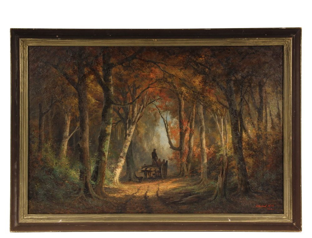 EDWARD HILL (NH/CA/OR, 1829-1908); Woodcutter's Wagon