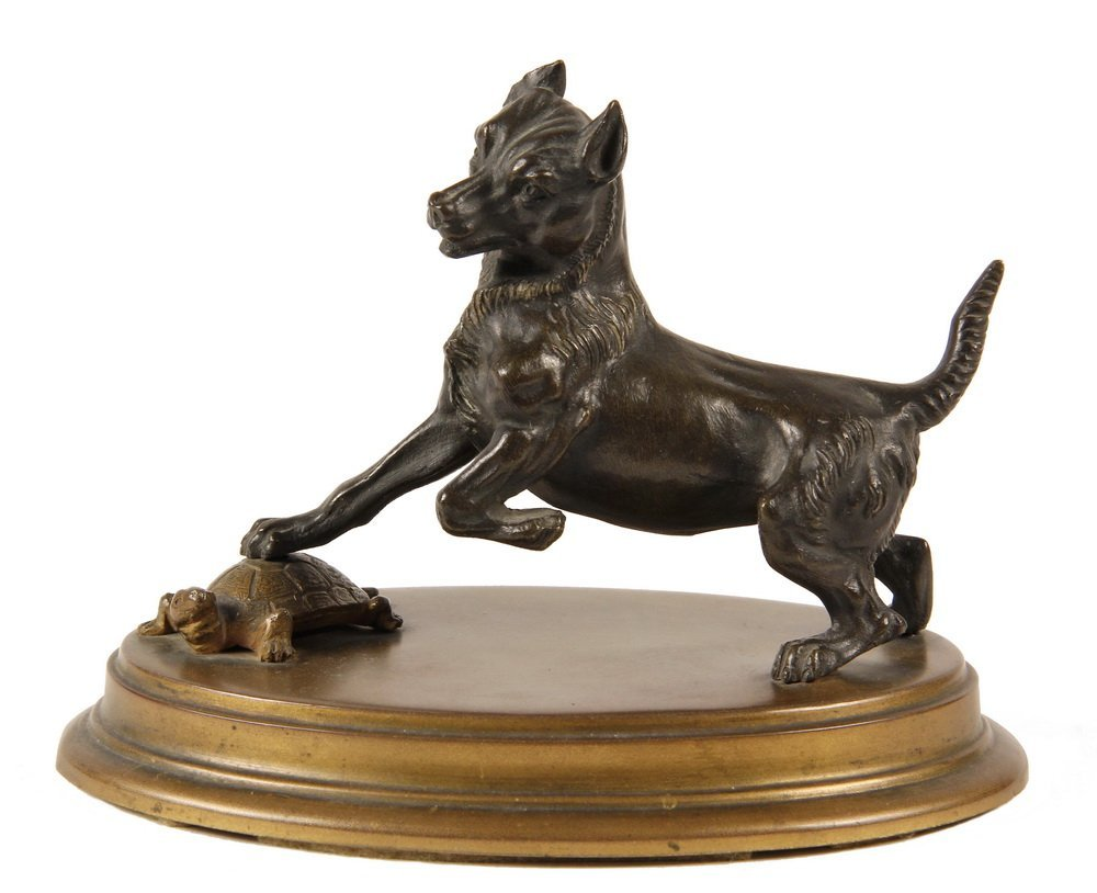 BRONZE ANIMALIER SCULPTURE - Terrier Trapping a Turtle,