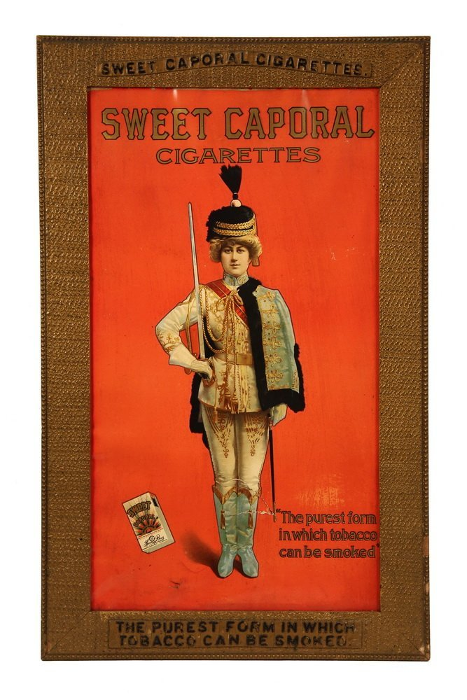 "TOBACCO ADVERTISING SIGN - ""Sweet Caporal Cigarettes:"