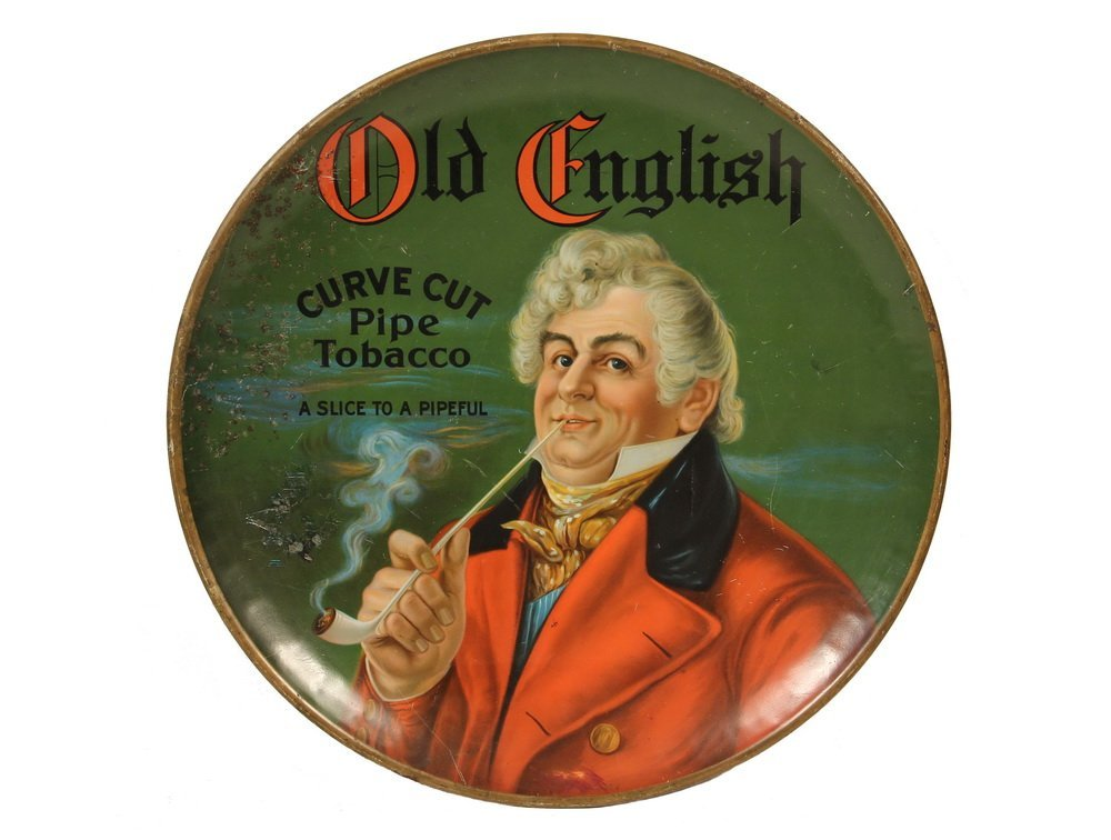 "TOBACCO ADVERTISING SIGN - ""Old English Curve Cut Pipe"