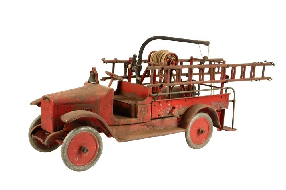 TOY FIRE TRUCK - Circa 1925 Steel Toy with open-front