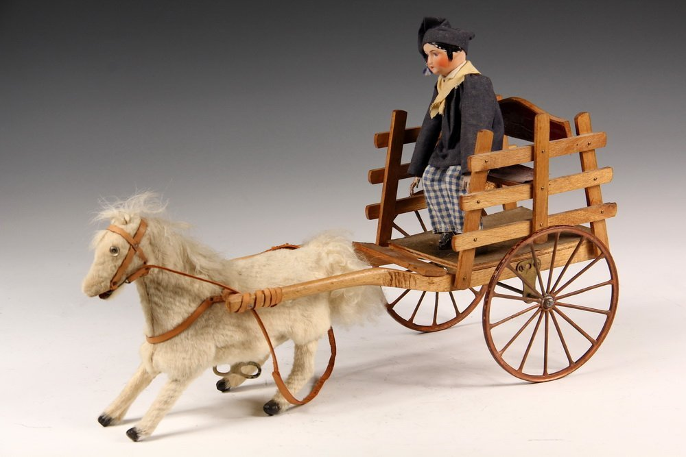 FRENCH MECHANICAL TOY - White Horse Pulling Wooden Cart