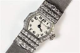 LADYS WATCH  Art Deco Platinum and Diamond Wristwatch