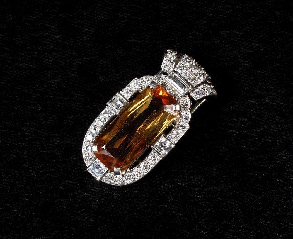 CARTIER CLIP - Art Deco Platinum, Topaz and Diamond