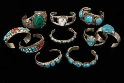BRACELETS - Group of (10) Native American Crafted Cuff