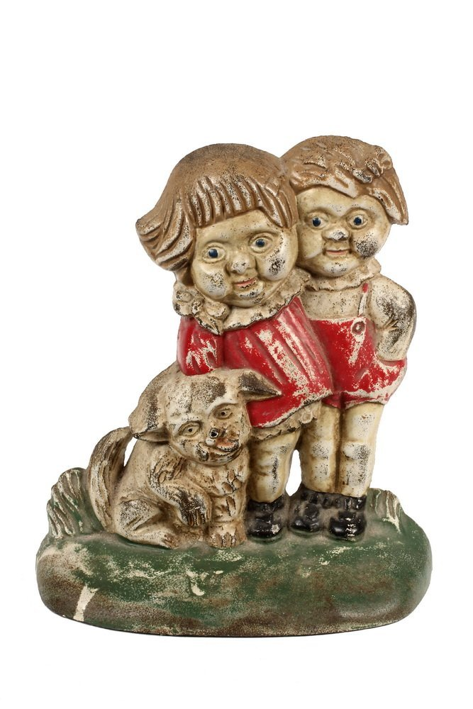 "SCARCE FIGURAL DOORSTOP - ""Campbell Kids"" Cast Iron"