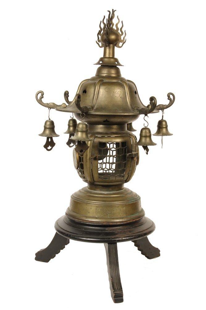 JAPANESE TEMPLE LANTERN - Bronze Lantern set on Wooden