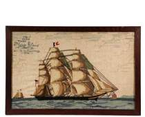 "SAILOR'S WOOLY SHIP PORTRAIT - 19th c. Woolwork of ""The"