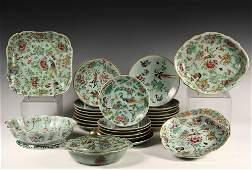 27 PCS CHINESE POTTERY  Late 19th c Celadon Famille