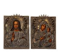 PAIR OF 19TH C RUSSIAN ICONS  Madonna with Child