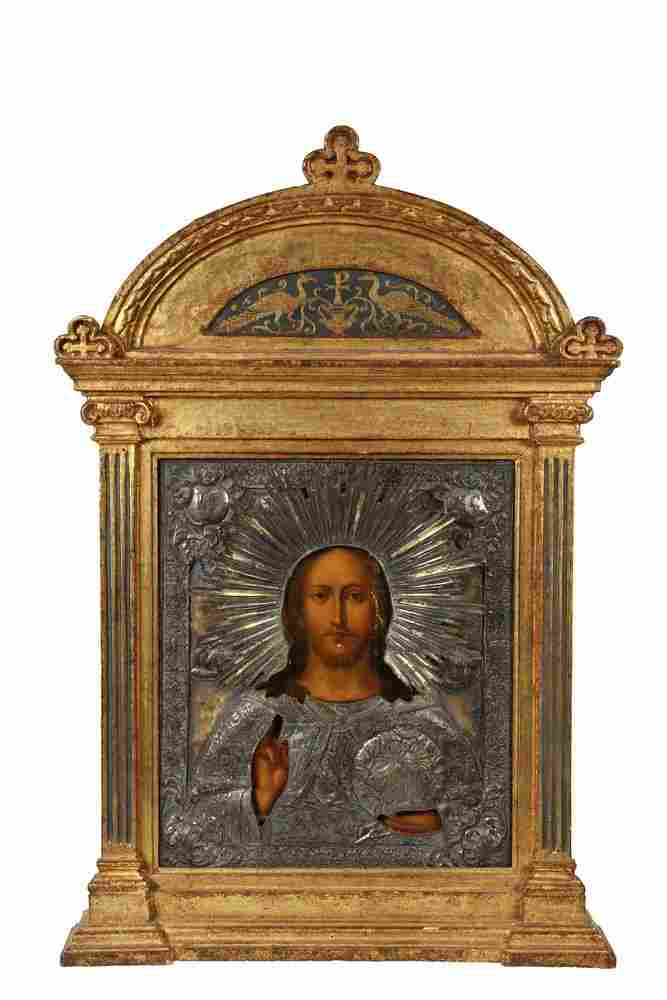 19TH C FRAMED RUSSIAN ICON - Christ the Redeemer, oil