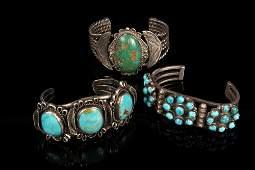 (3) BRACELETS - Group of (3) Vintage Navajo Crafted