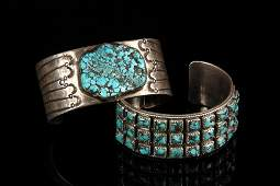(2) BRACELETS - Group of (2) Silver and Turquoise