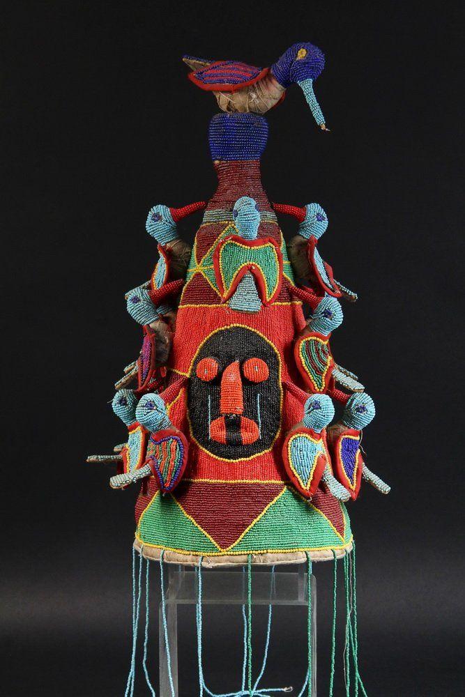 AFRICAN BEADED HEADDRESS- Ceremonial Headdress, Yoruba