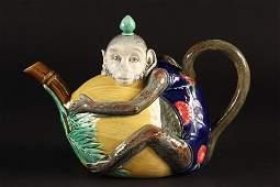 MAJOLICA TEAPOT - Minton Majolica Figural Teapot