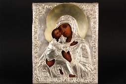 RUSSIAN ICON  Tikvanskaya Mother of God in silver