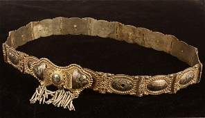 TURKISH SILVER BELT  19th c Turkish Gilt Silver