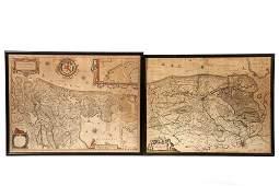 2 18TH C ENGRAVED MAPS  Hollandia Comitatus by