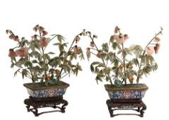 PAIR OF CHINESE JADE PLANTS IN CLOISONNE ON STANDS -