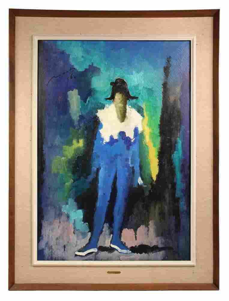 "CESARINO MONTI (Italy, 1916-1979) - ""Harlequin"", oil on"