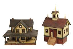 FOLK ART HOUSE AND BARN MODELS - Bank Barn and House