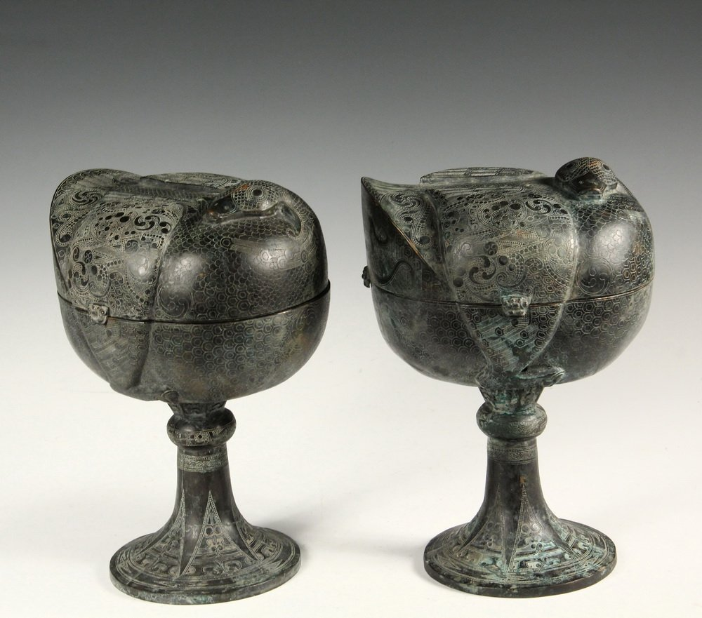 PAIR OF CHINESE BRONZE DOU - Ceremonial Covered Food