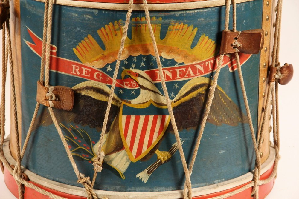 CIVIL WAR FIELD DRUM - A. Rogers Snare Marching Drum, - 2
