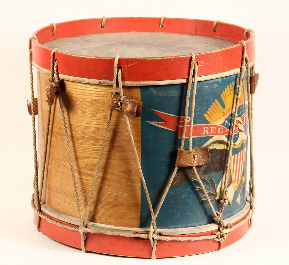 CIVIL WAR FIELD DRUM - A. Rogers Snare Marching Drum, - 5
