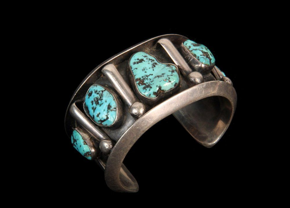 BRACELET - Native American Heavy Silver and Turquoise