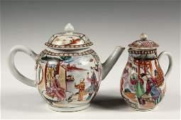 (2 PCS) CHINESE EXPORT - Late 18th c. Mandarin Teapot