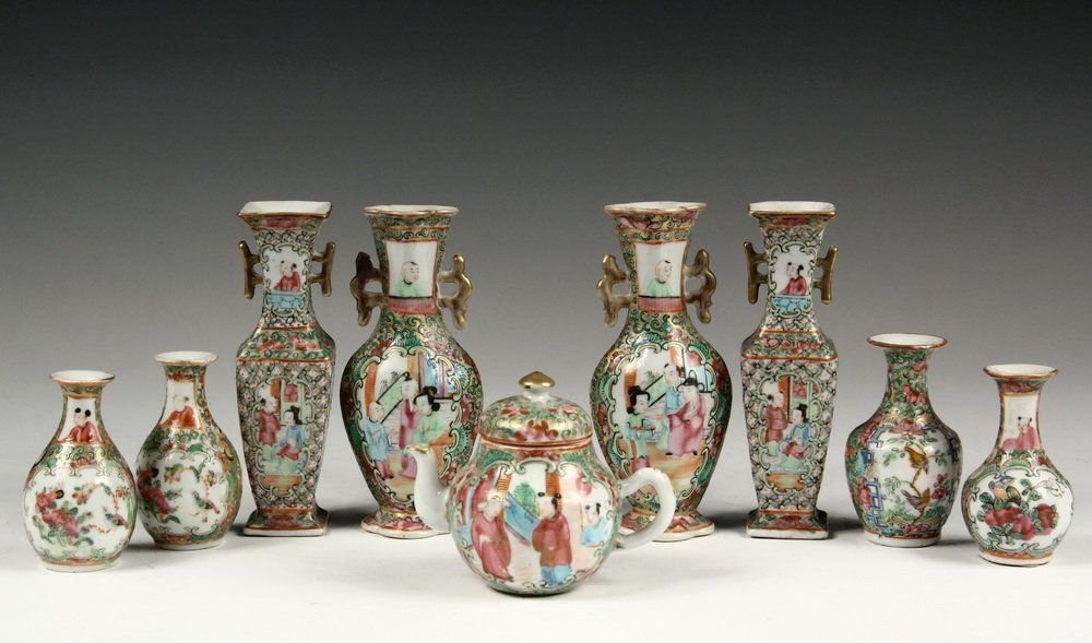 (9 PCS) MINIATURE CHINESE EXPORT PORCELAIN - All 19th