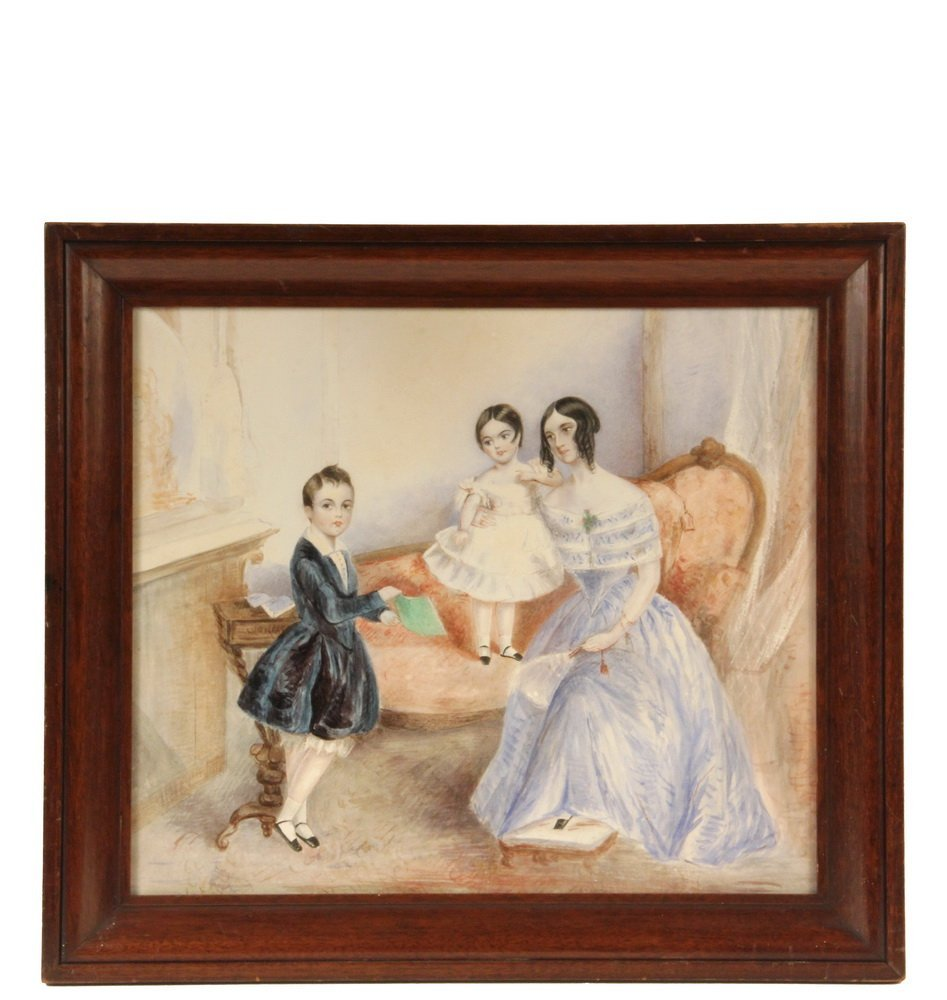 EARLY VICTORIAN FAMILY PORTRAIT - Mother with Daughter