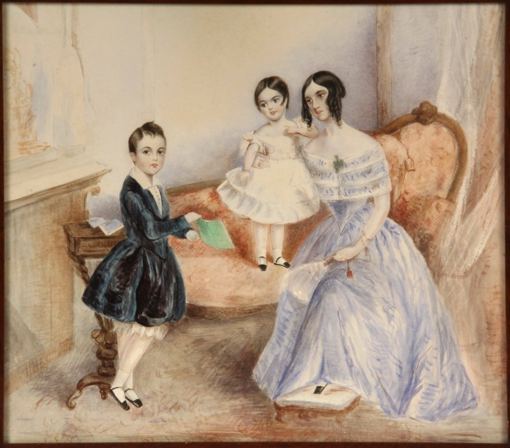 EARLY VICTORIAN FAMILY PORTRAIT - Mother with Daughter - 2