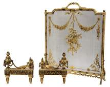 (3 PC) FRENCH FIREPLACE SET - Louis-Philippe Firescreen