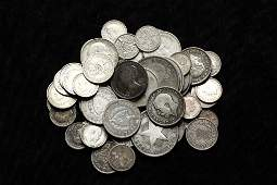 COINS  Bag of Foreign Silver Coins many 925