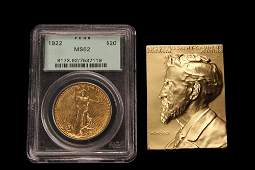 COIN  MEDALLION  2 Pc US 1922 St Gaudens 20 Gold