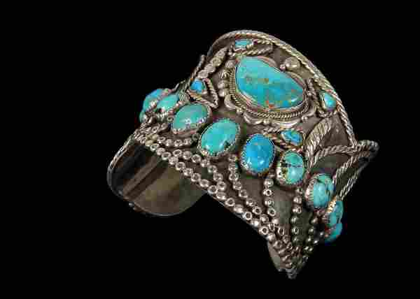 BRACELET - Large Native American Silver and Turquoise