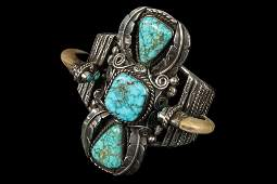 BRACELET - Large Native American Silver, Turquoise and